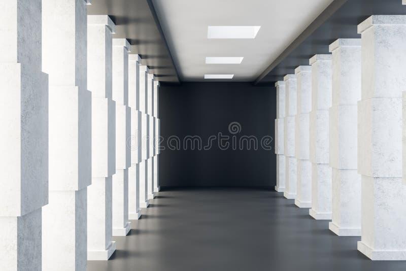 Interior concreto brillante del túnel stock de ilustración