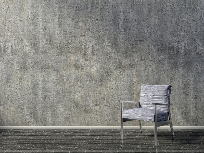 Interior concreto com poltrona azul ilustração 3D ilustração royalty free