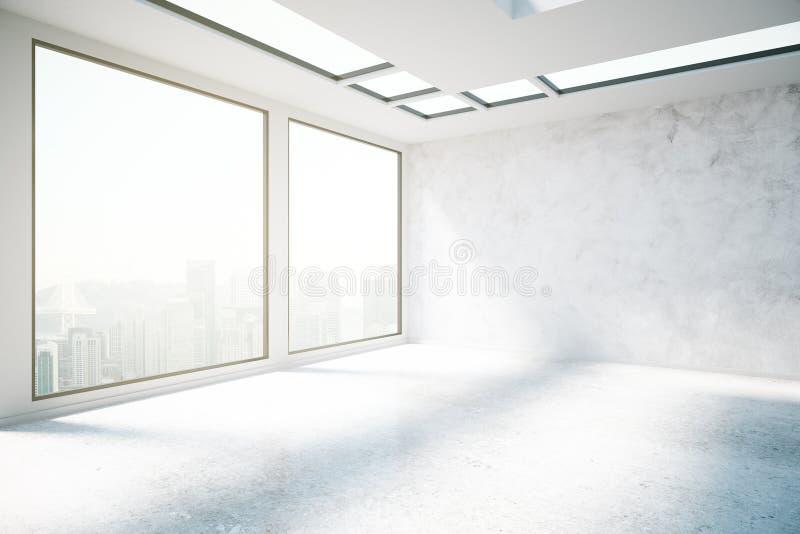 Interior concreto con el lado de la opinión de la ciudad stock de ilustración
