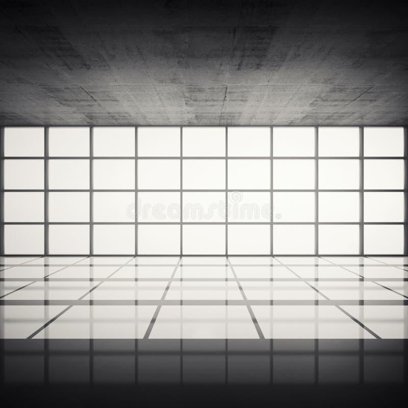 Interior Concreto Con Las Ventanas Brillantes En Marcos Modernos ...