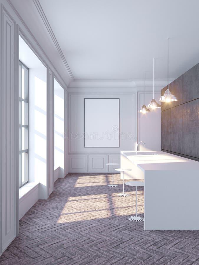 Interior concreto contemporâneo com opinião vazia do cartaz e da cidade com luz solar Zombaria acima, ilustração da rendição 3D ilustração do vetor