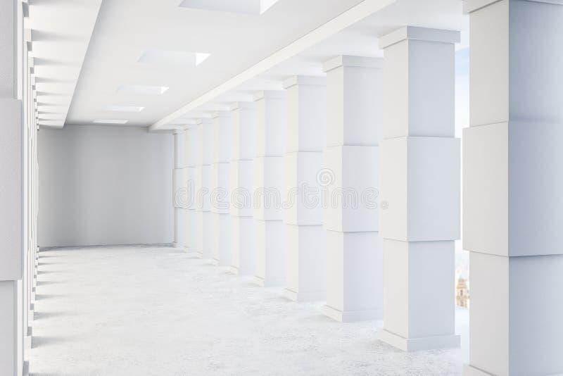 Interior concreto contemporâneo do túnel ilustração do vetor