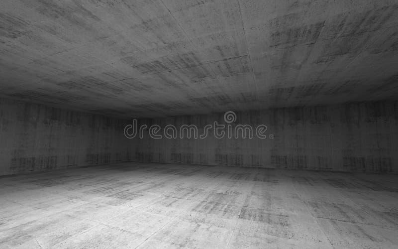 Interior concreto da sala larga vazia abstrata ilustração stock