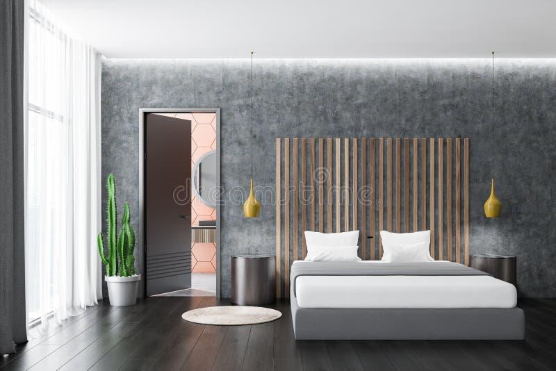 Interior concreto do quarto, mesas redondas ilustração royalty free