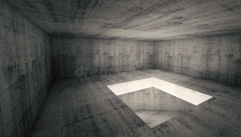 Interior concreto escuro vazio da sala 3d com furo quadrado ilustração royalty free