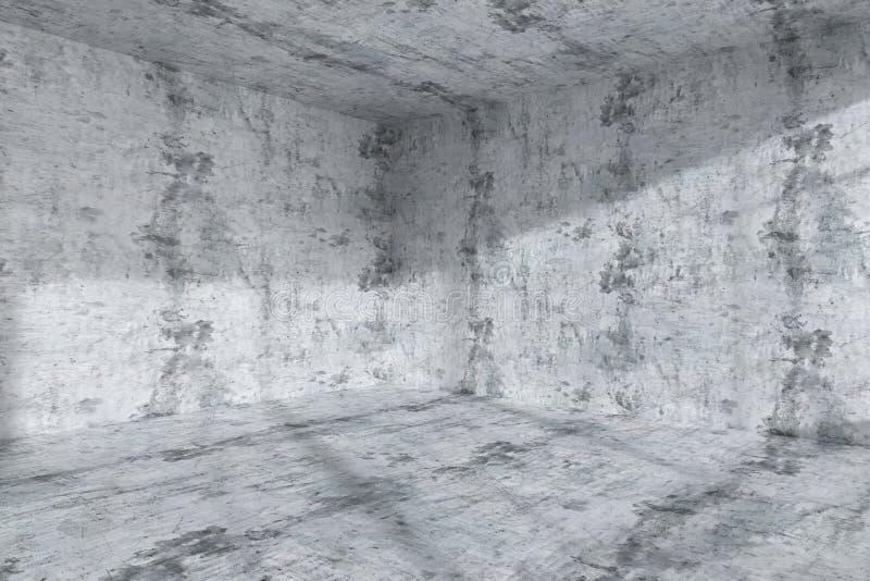 Interior concreto escuro vazio do canto da sala ilustração royalty free