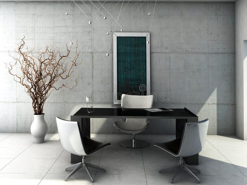 Interior concreto minimalista do escritório ilustração do vetor