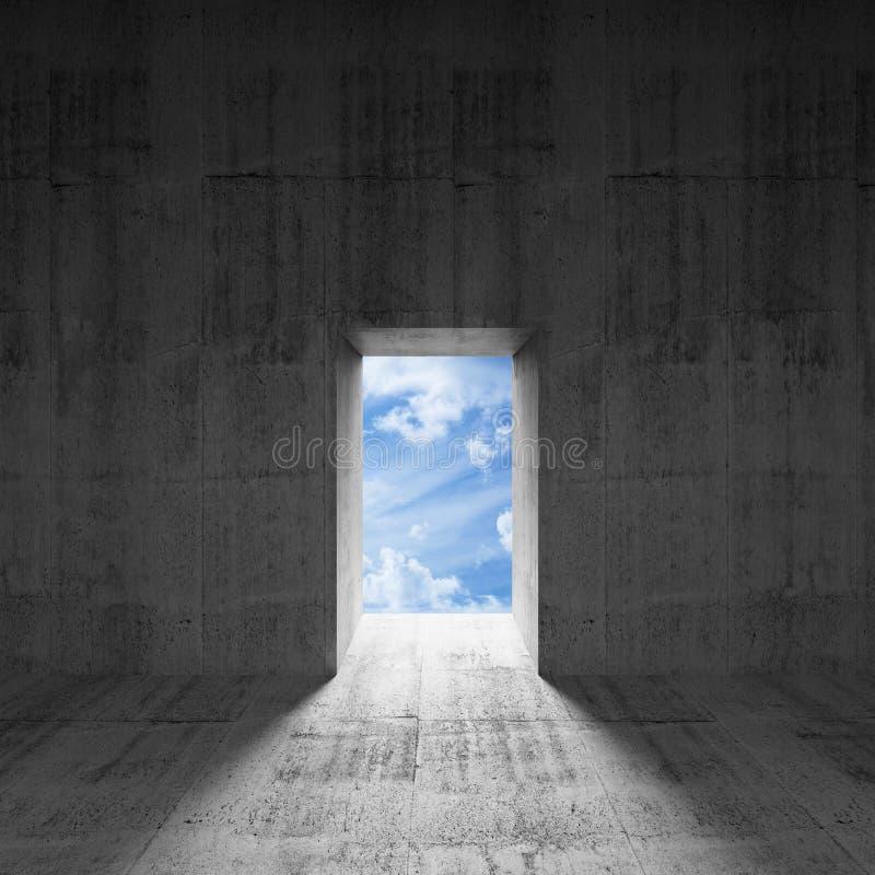 Interior concreto oscuro abstracto con el cielo detrás de la puerta stock de ilustración