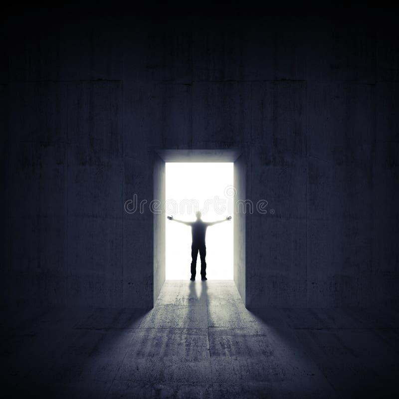 Interior concreto oscuro abstracto con la puerta y el hombre stock de ilustración
