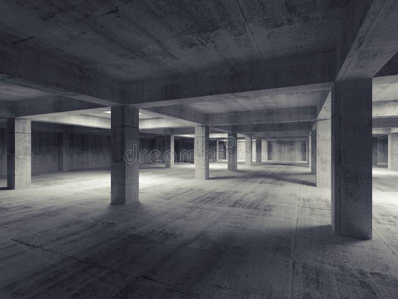 Interior concreto subterráneo industrial abstracto vacío 3d stock de ilustración