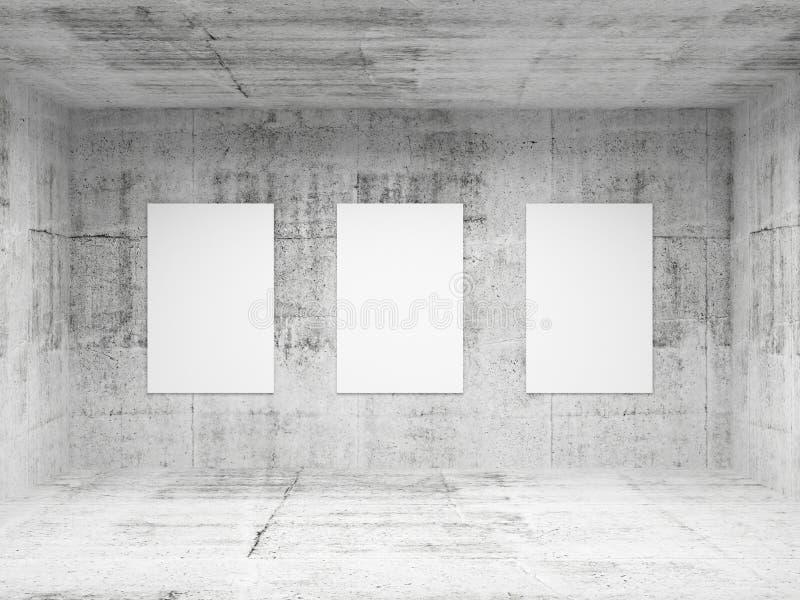 Interior concreto vacío de la galería de arte abstracto ilustración del vector