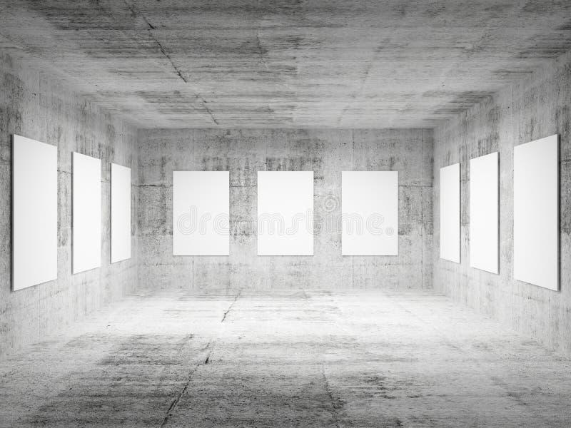 Interior concreto vacío del pasillo 3d de la galería de arte ilustración del vector