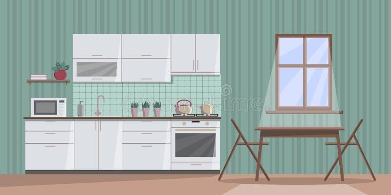 Interior confortável branco da cozinha na noite com luar da janela, com mobília, tabela, cadeiras, dissipador, fogão, forno micro ilustração royalty free