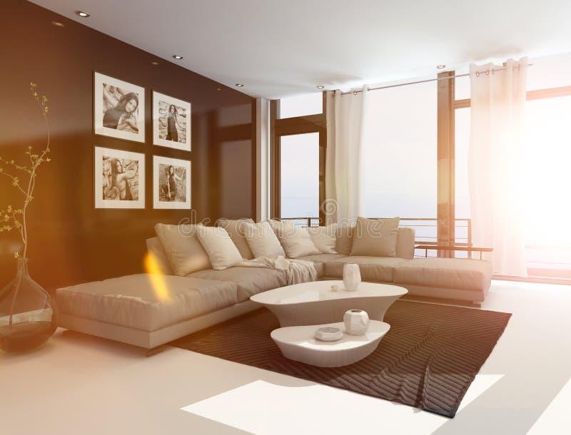 Interior confortável da sala de visitas na luz solar brilhante ilustração do vetor