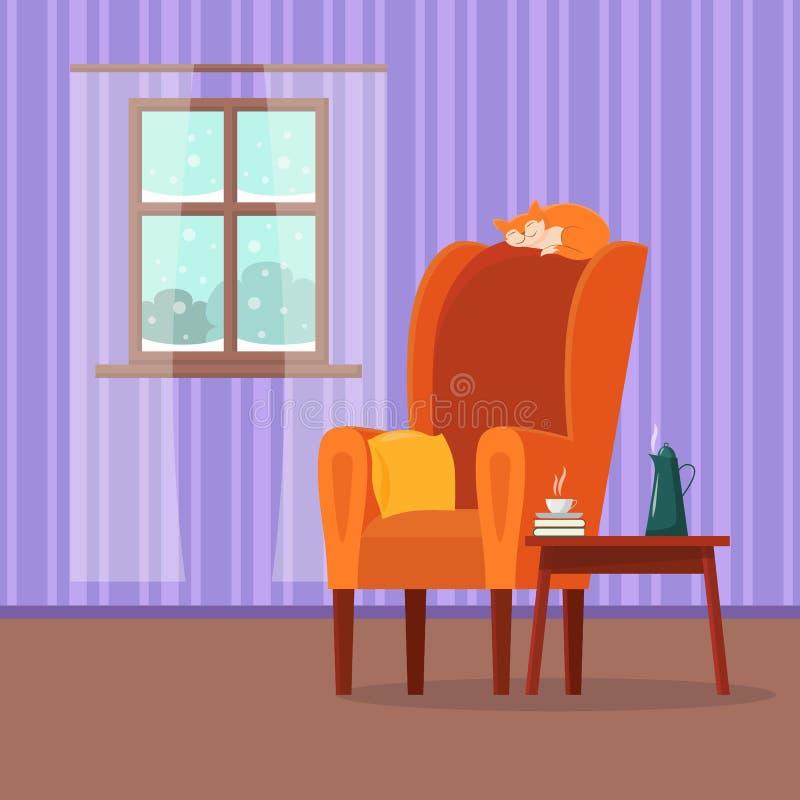 Interior confortável dos desenhos animados lisos do vetor da sala de visitas ilustração royalty free