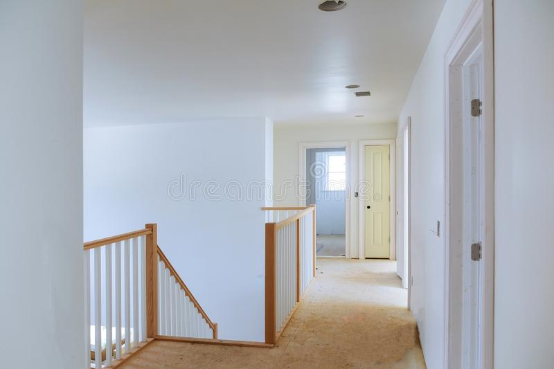 Construction building industry new home construction interior drywall tape. Building construction gypsum plaster walls. Interior construction of housing stock photo