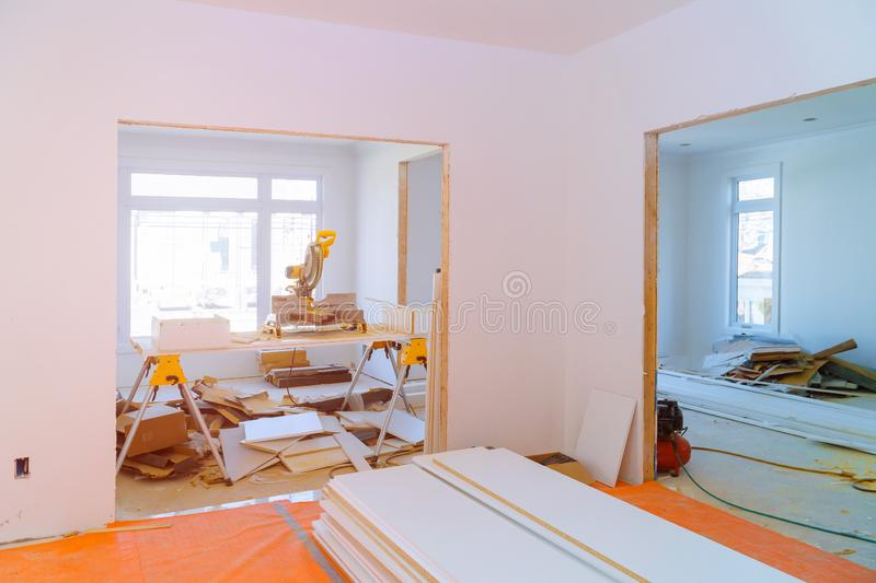Interior construction of housing project with door and molding installed stock photo