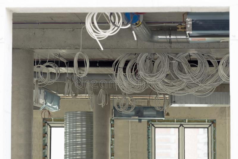 Interior Construction Site. Cabling And Wiring Of New Office ... on