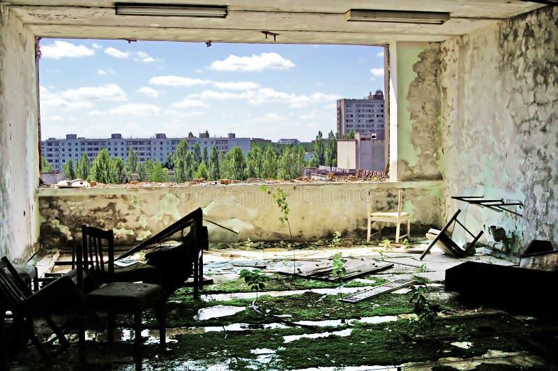 Interior constructivo abandonado en la zona de Chernóbil Chornobyl Disaste fotografía de archivo libre de regalías