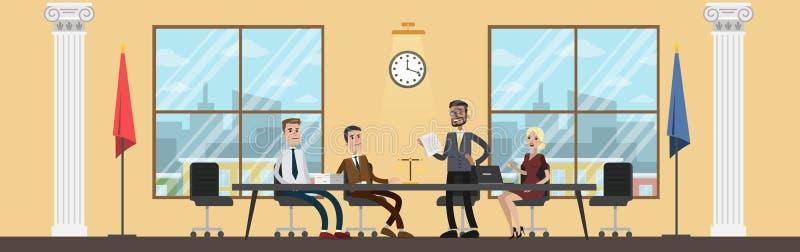 Interior constructivo de la corte con la gente en la reunión ilustración del vector