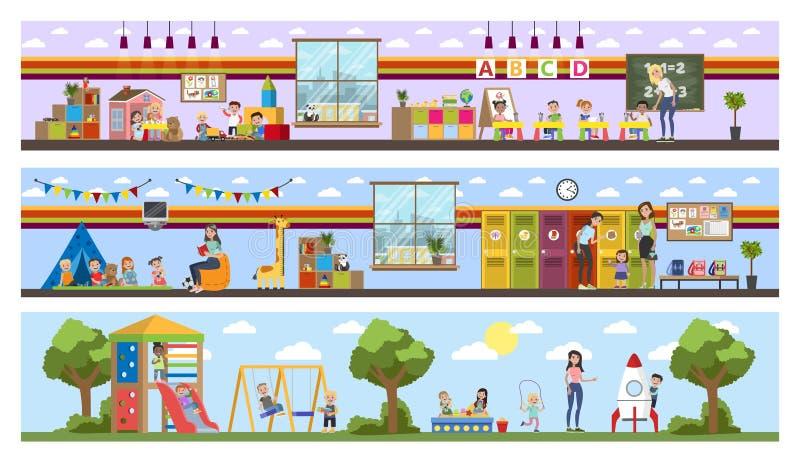 Interior constructivo de la guardería o del cuarto de niños con los niños stock de ilustración