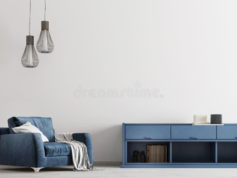 Interior contemporáneo con muebles azules con mofa encima de la pared tmpty stock de ilustración