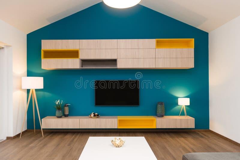 Interior contemporáneo de la sala de estar imagen de archivo libre de regalías