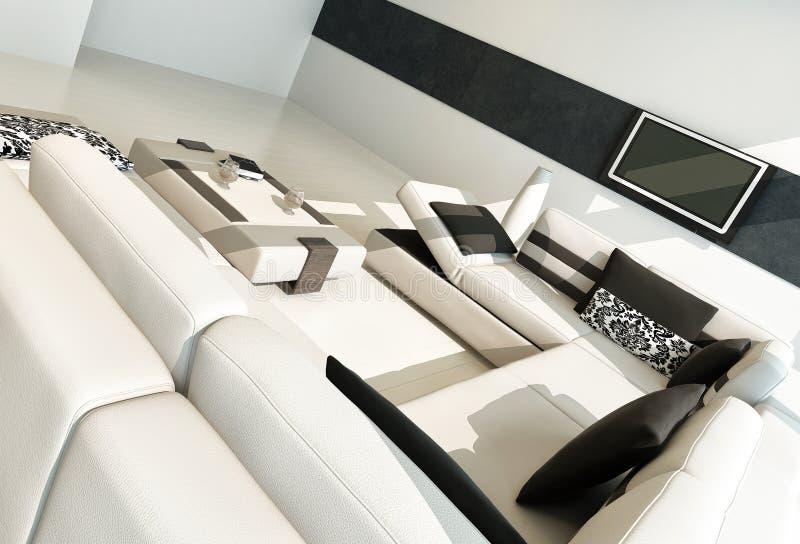 Interior contemporáneo de lujo moderno de la sala de estar ilustración del vector