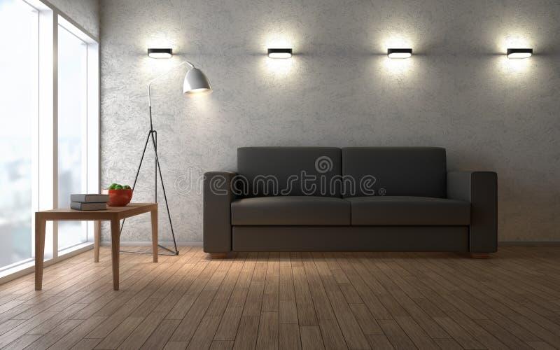 Interior contemporáneo del desván de la sala de estar representación 3d stock de ilustración