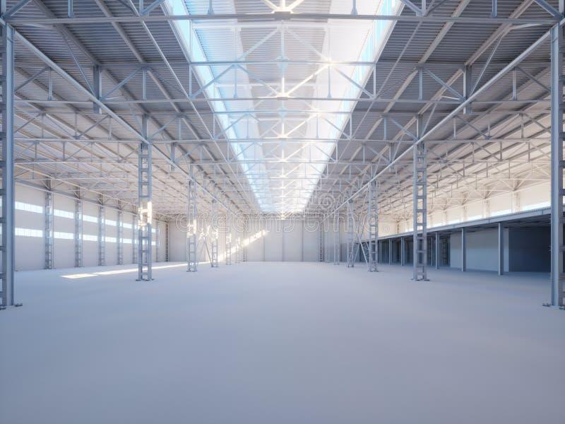 Interior contemporâneo da construção industrial iluminado pela ilustração da luz solar 3d ilustração do vetor
