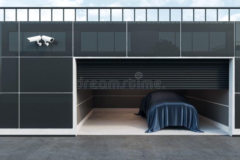 Interior contemporâneo da garagem com carro ilustração do vetor