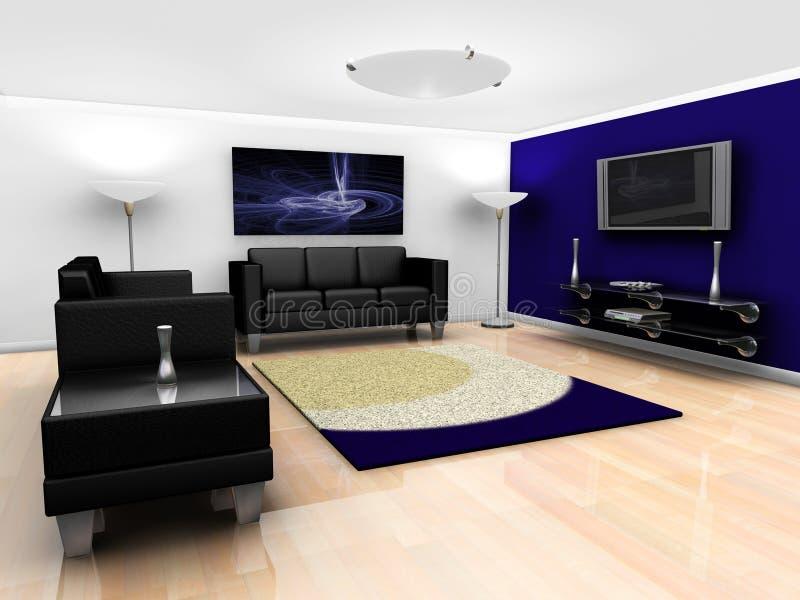 Interior contemporâneo da sala de estar ilustração royalty free