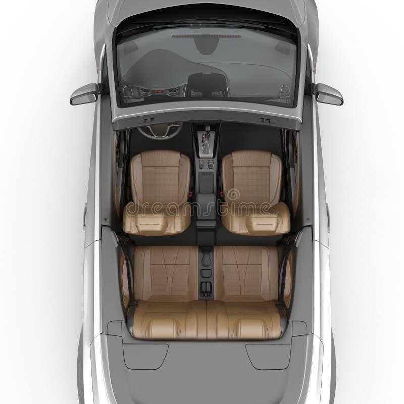 Interior convertível do carro de esportes isolado em um fundo branco ilustração 3D foto de stock