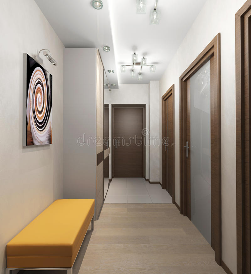 Interior corridor with doors in the apartment stock for Armoire couloir design