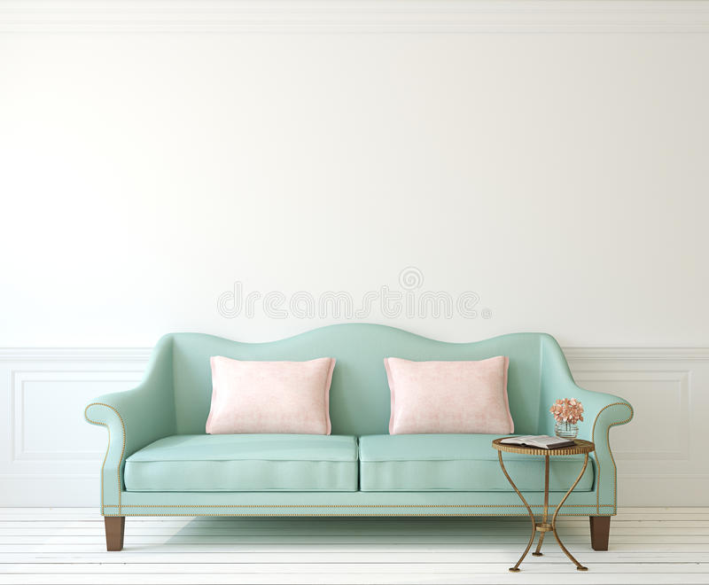 Interior with couch. Romantic interior with blue couch near empty white wall. 3d render