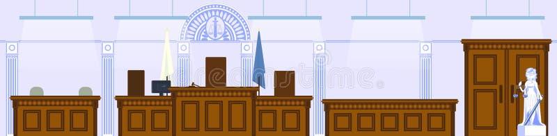 Interior of courtroom, concept illustration. Interior of courtroom. Vector illustration in flat style royalty free illustration
