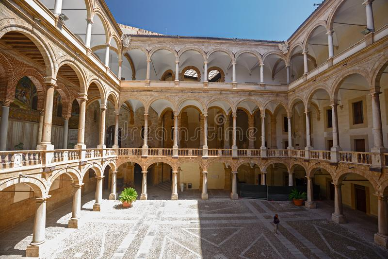Interior courtyard of the Norman palace in Palermo, Italy royalty free stock photography