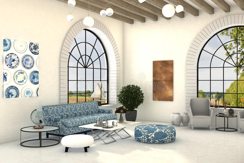 Country style living room interior with big round windows. Cozy interior of a country style living room with big round windows and floral patterns royalty free illustration