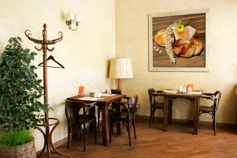 Interior of cozy italian restaurant royalty free stock images
