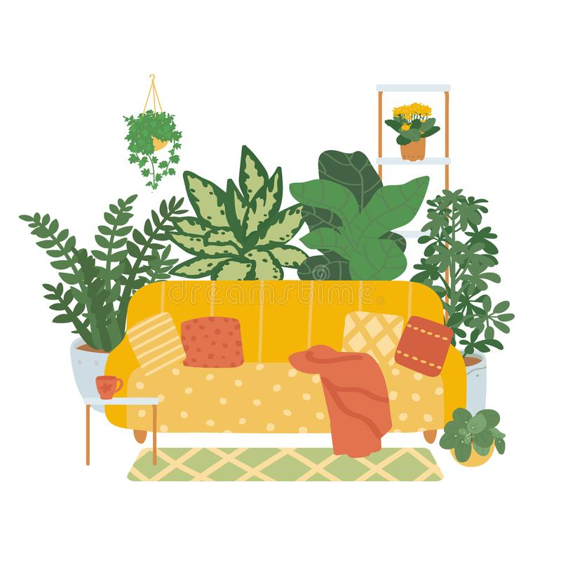 Interior of a cozy living room isolated on white background. Trend décor of indoor plants. Vector illustration in the style of. Interior of a cozy living room stock illustration