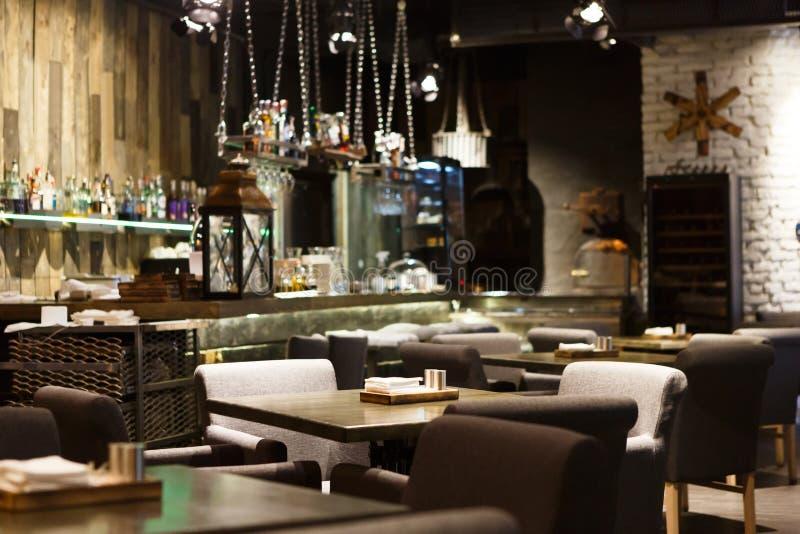 Interior of cozy restaurant loft style stock photo