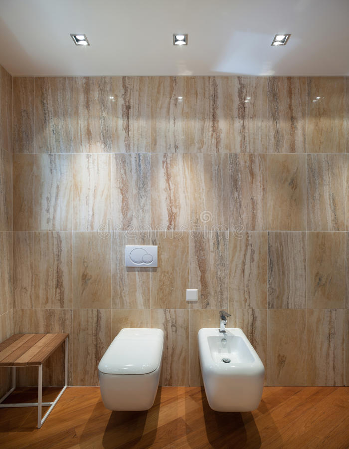 Interior, cuarto de baño de mármol imagen de archivo libre de regalías