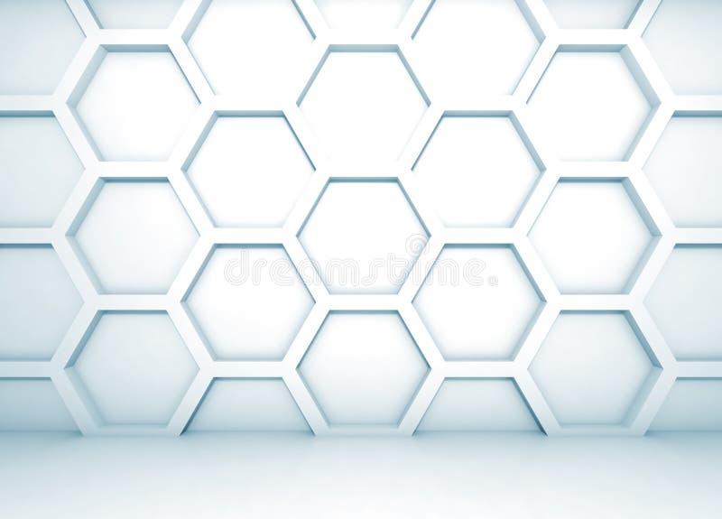 Interior 3d azul com teste padrão do favo de mel na parede ilustração royalty free