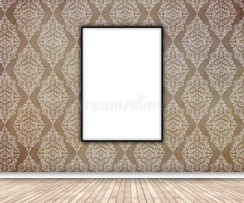 interior 3D com a imagem vazia que pendura no papel de parede do damasco ilustração stock