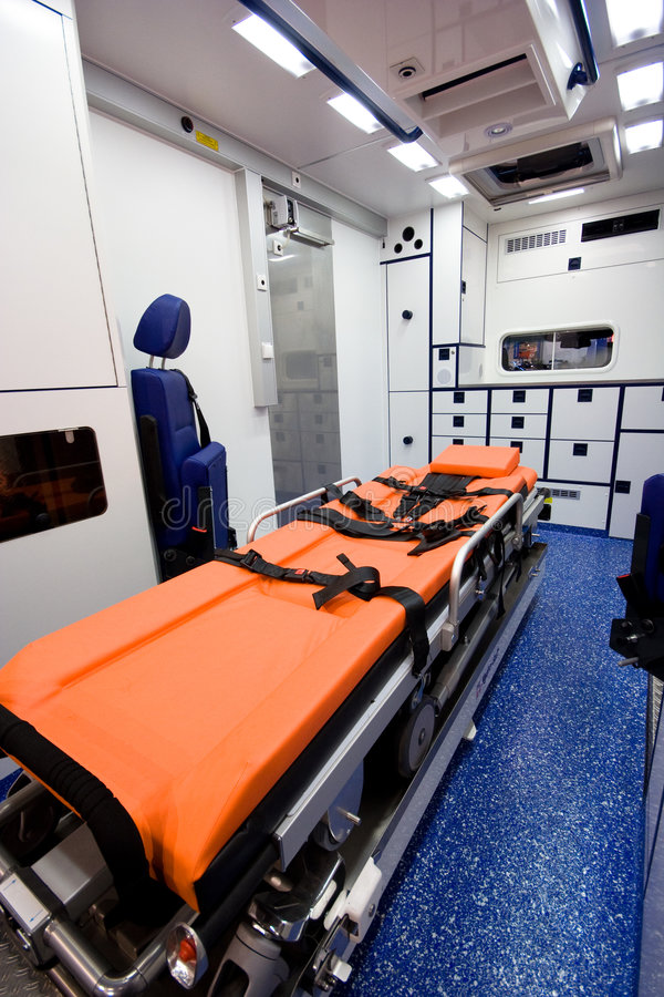 Interior da ambulância imagens de stock