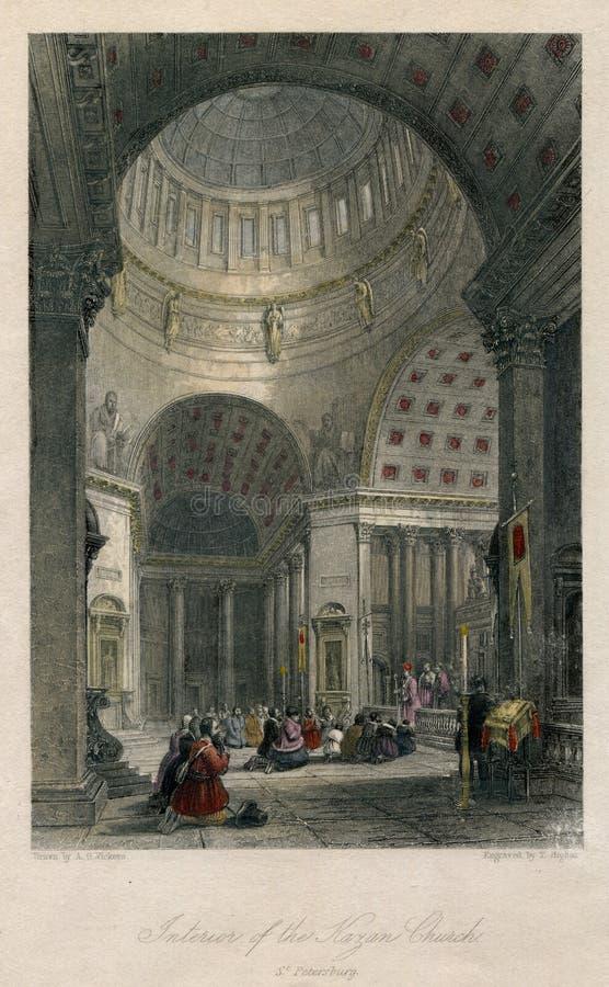 Interior da antiguidade 1830 da igreja StPetersburg de Kazan em Rússia imagem de stock