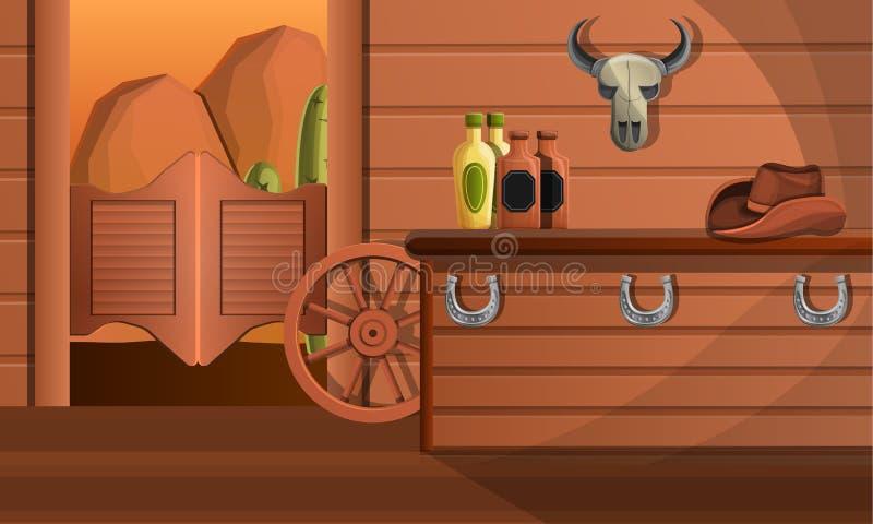 Interior da bandeira do conceito do bar de texas, estilo dos desenhos animados ilustração royalty free