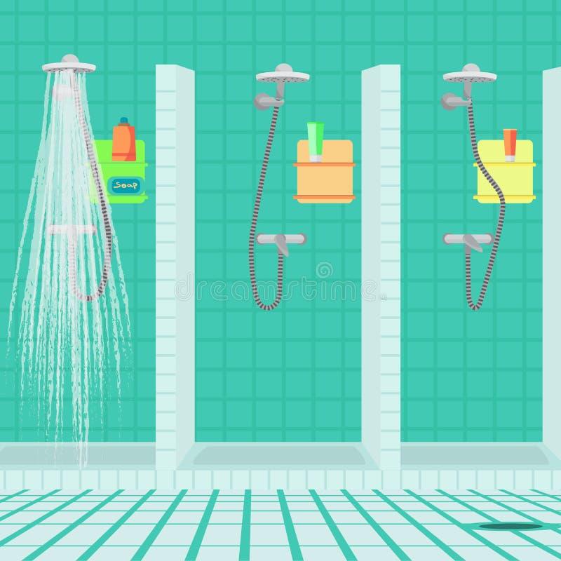 Interior da banheiro com chuveiro no clube desportivo Chuveiros do público ilustração royalty free