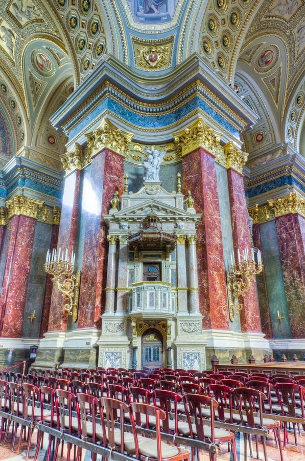 Interior da basílica de Stephen de Saint, Budapest, Hungria foto de stock royalty free