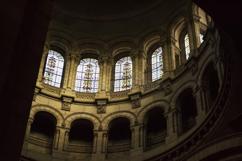 Interior da Basilica Sacre Coeur fotografia de stock